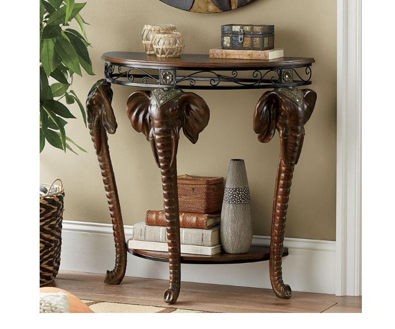Elephant Pattern Console Table or Chic Giraffe Print Round W