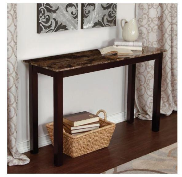 Entryway Console Table Faux Marble Top Espresso Wooden Sofa