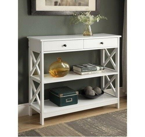 Entryway Table With Storage Console Furniture Accent Wood Ha