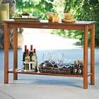 Eucalyptus Wood Console Table Walnut Brown Finish Outdoor Pa