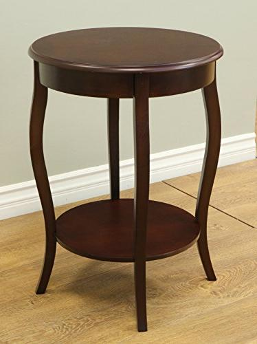 Frenchi Home Furnishing Walnut Round Accent Table, Accent