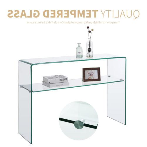 Contemporary Clear Glass Table Cupboard Living