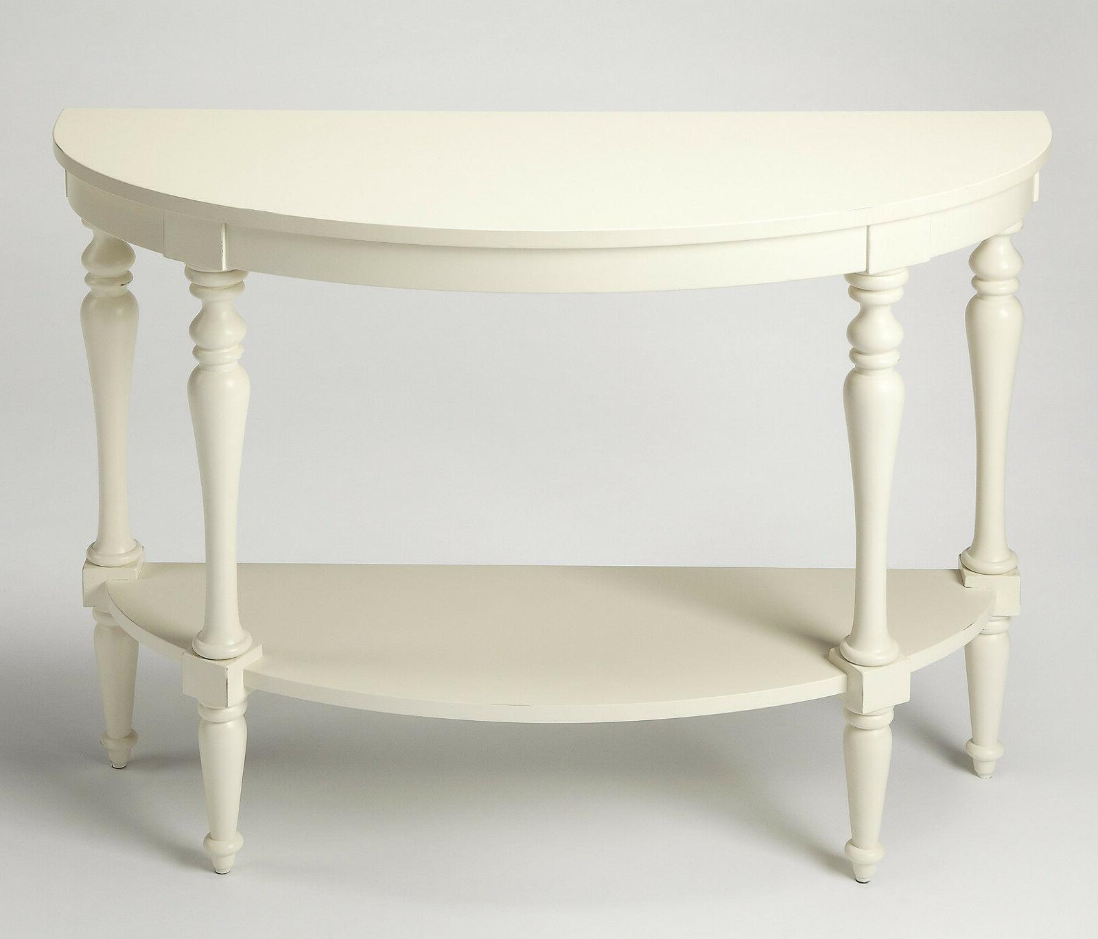 HANOVER SQUARE DEMILUNE CONSOLE TABLE - WHITE FINISH - FREE