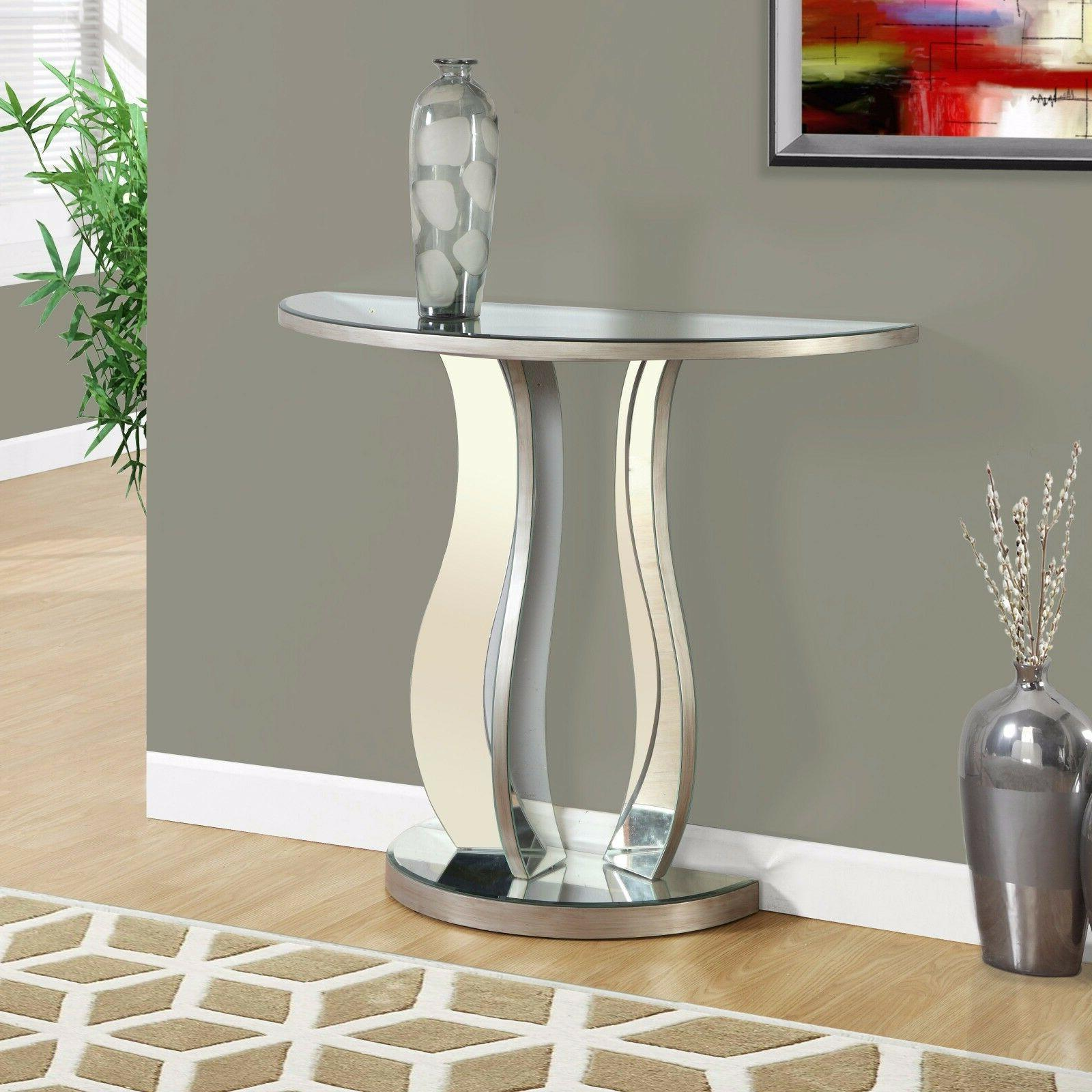 Half Oval Mirrored Console Sofa Table Silver Finish Glam Fur
