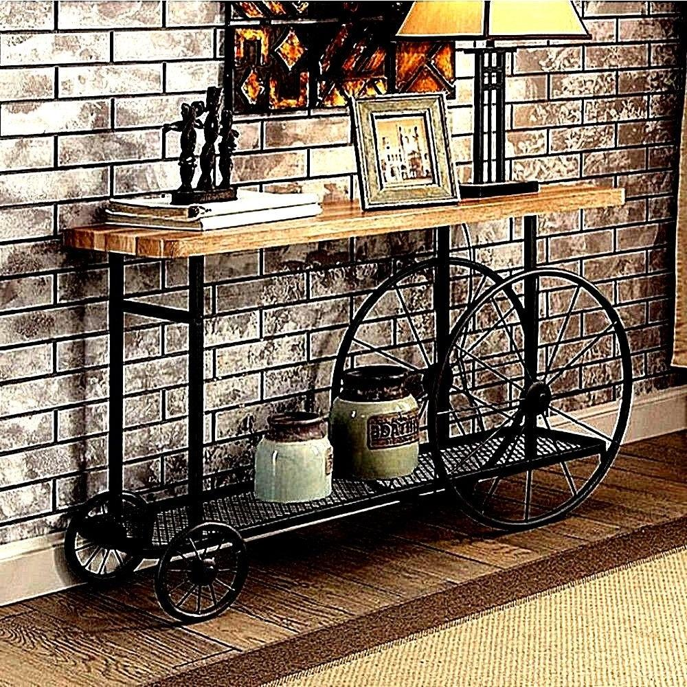 INDUSTRIAL DESIGN SOFA CONSOLE TABLE W WOODEN TOP AND METAL