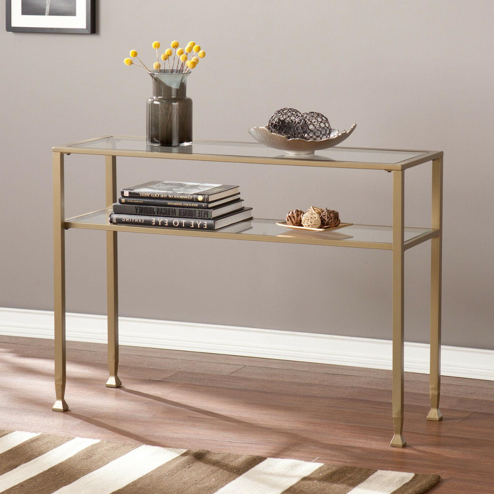 JST37573 MATTE GRAYISH GOLD METAL / GLASS CONSOLE TABLE
