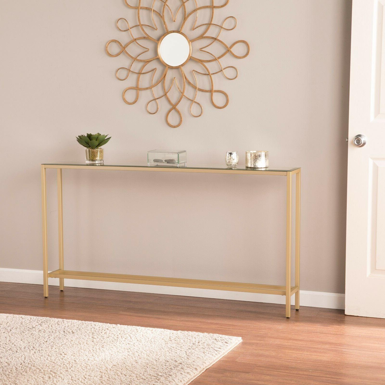 JST69529 Narrow Console Table w/ Mirrored Top - Gold