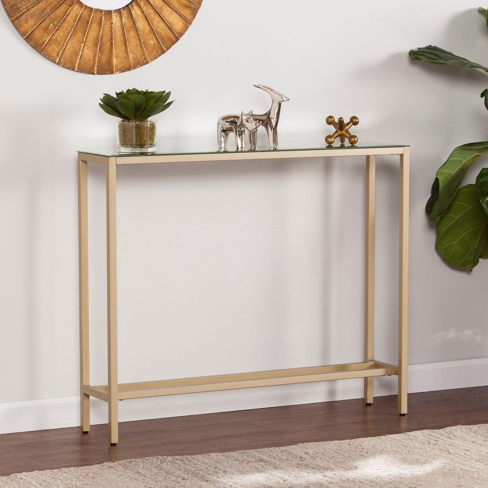 JST79529 Narrow Console Table w/ Mirrored Top - Gold