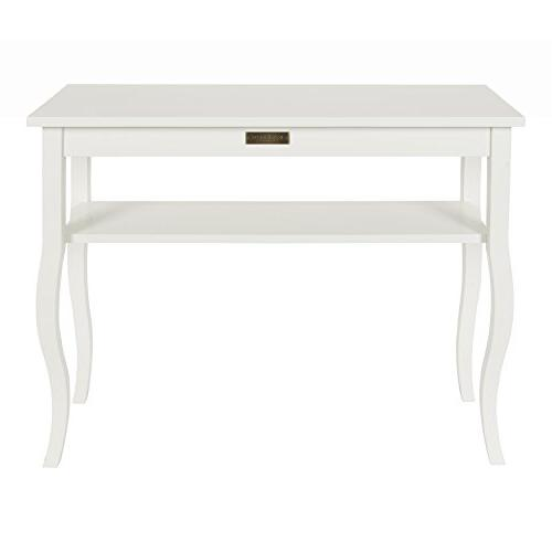 Kate Wood Console Table with Curved Legs and Shelf,