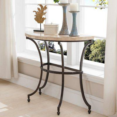 Leick Furniture Demilune Travertine Console Table with Rubbe
