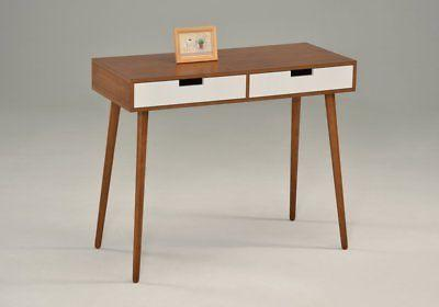 Light Walnut/White Console Sofa Table with Two Drawer - Mid-
