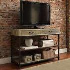 Media Console Sofa Table Rustic Industrial Weathered Reclaim