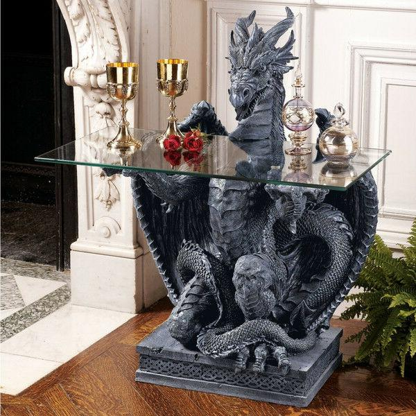 Medieval Gothic Greystone Dragon Game of Thrones Sculptural