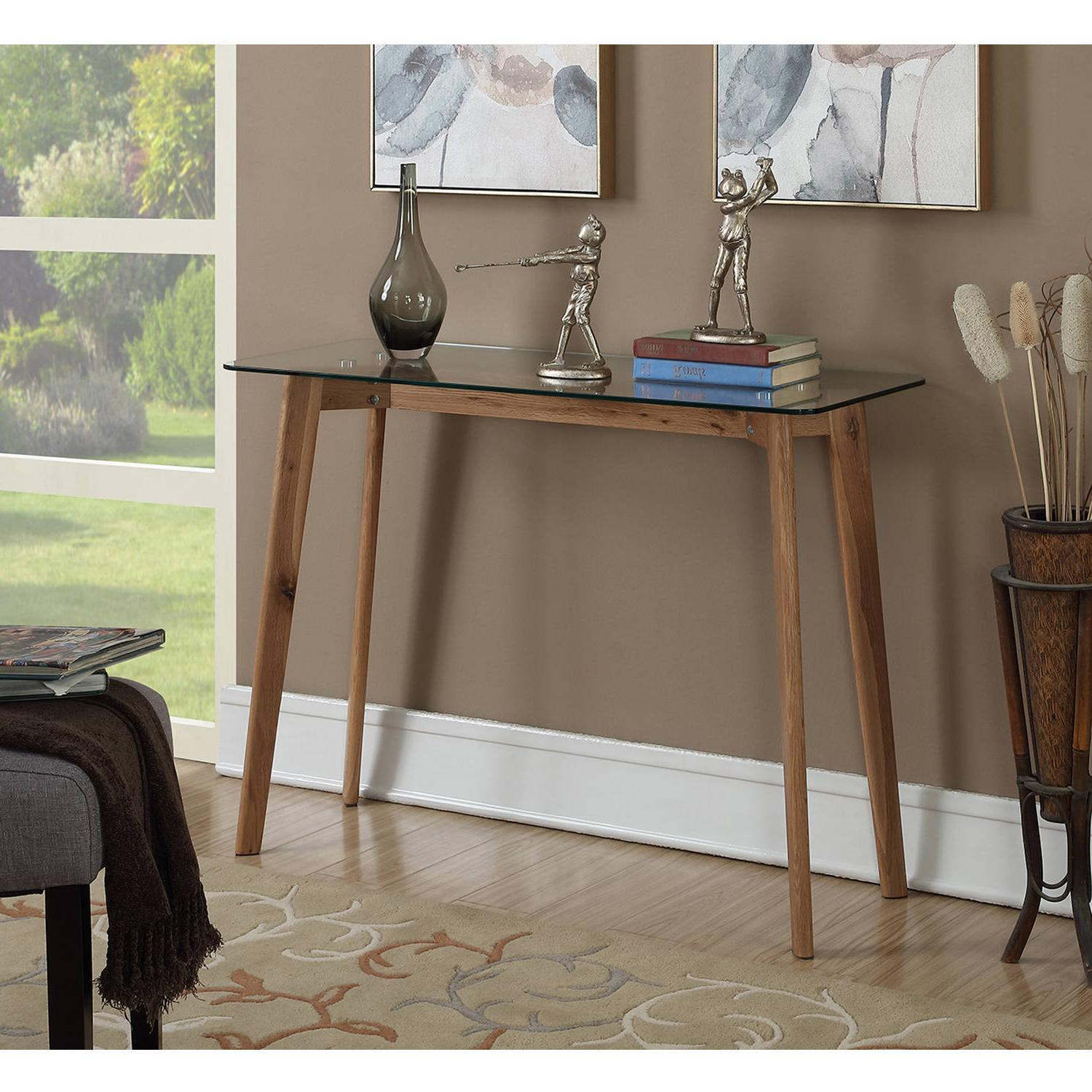 Modern Mid Century Design Sofa Console Table Solid Natural W