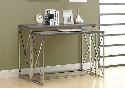 Monarch Reclaimed-Look/Chrome 2-Piece Console Tables, Dark T