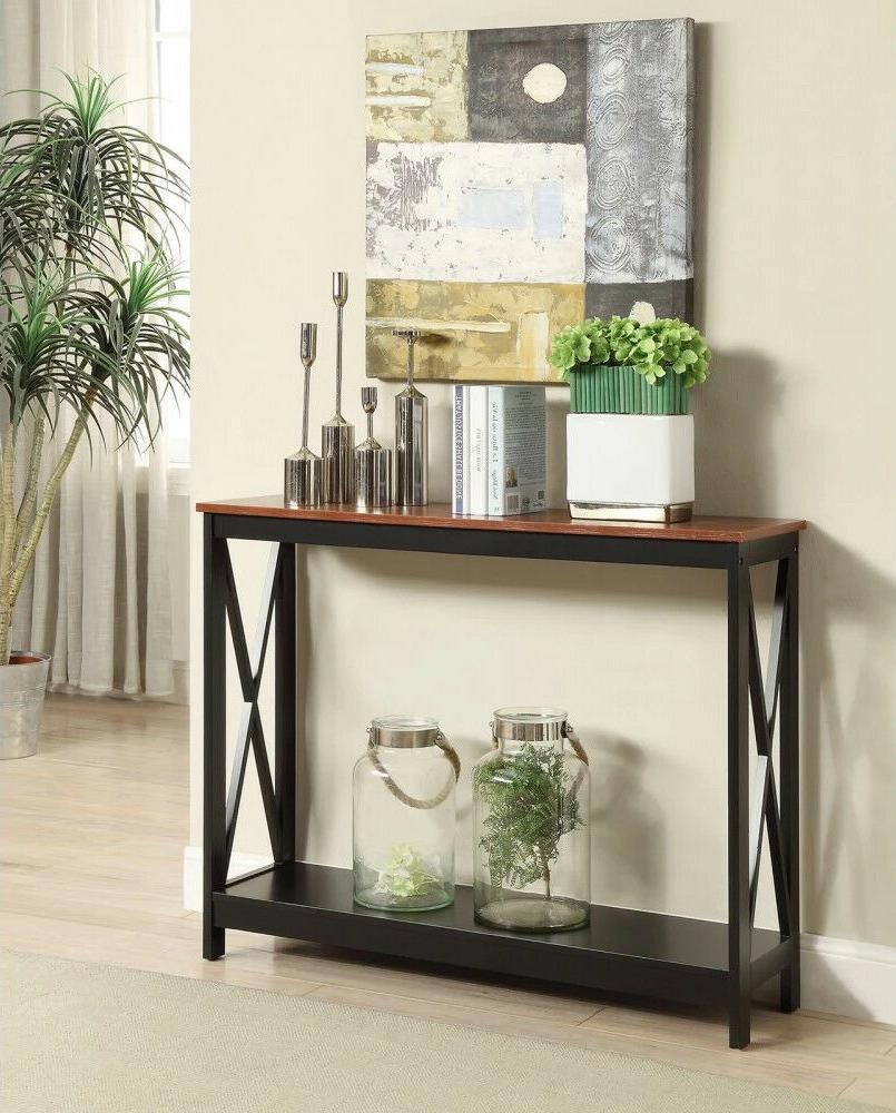 Narrow Oxford Console Open Table Tall Entryway Cherry Finish