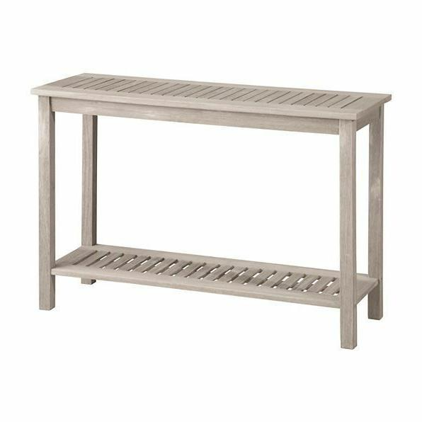 Outdoor Patio Furniture Eucalyptus Wood Console Table Gray W