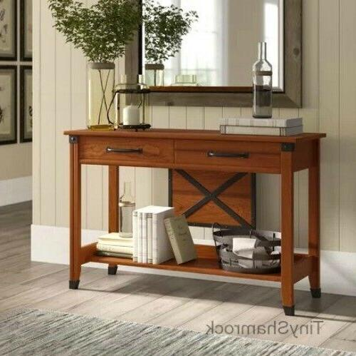 Rustic Industrial Style Console Table Hallway Entry TV Stand