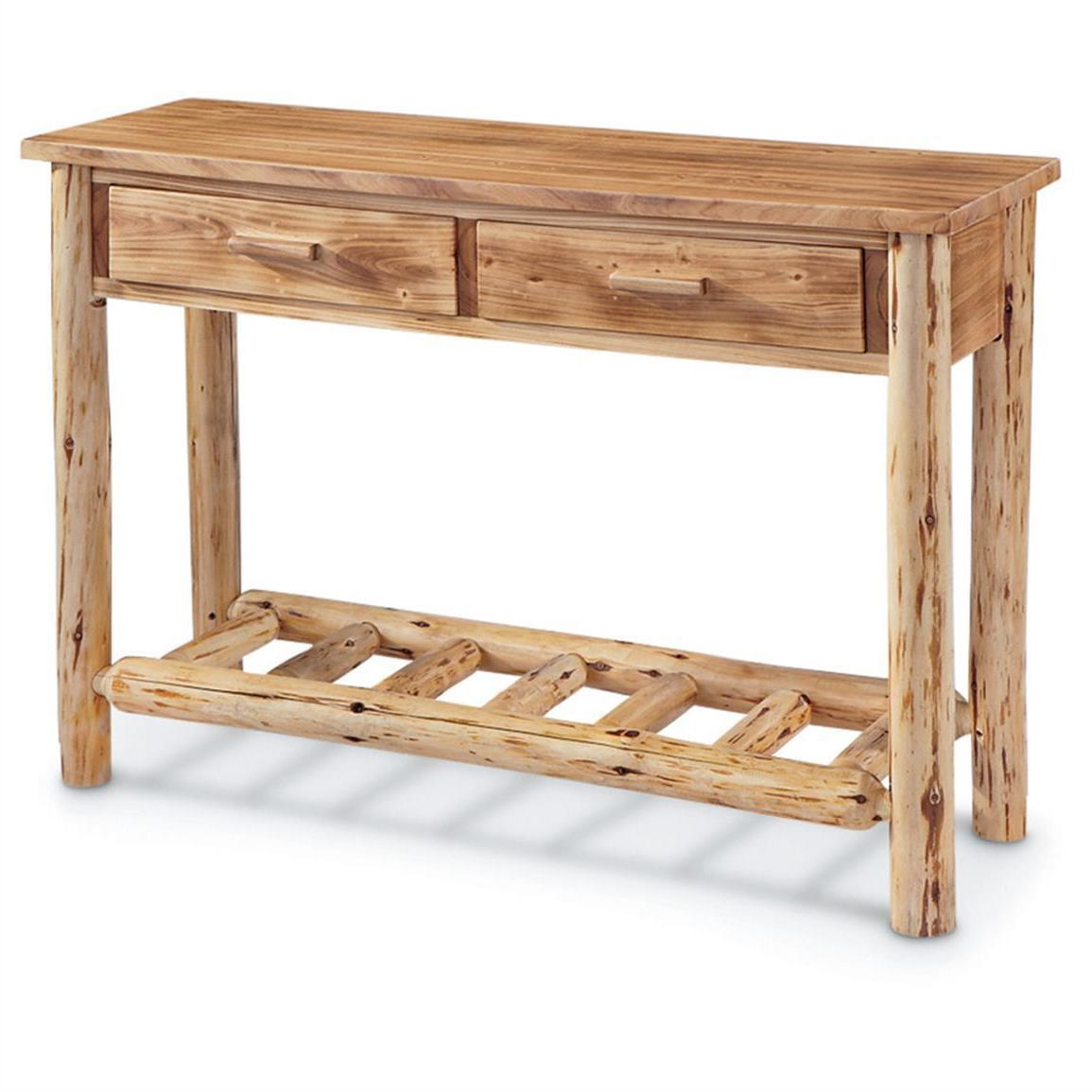 Rustic Pine Log Sofa Console Table Premium Lacquer Finish So