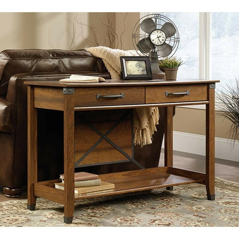 Sauder Console Table Storage 2 Drawers Metal Runners
