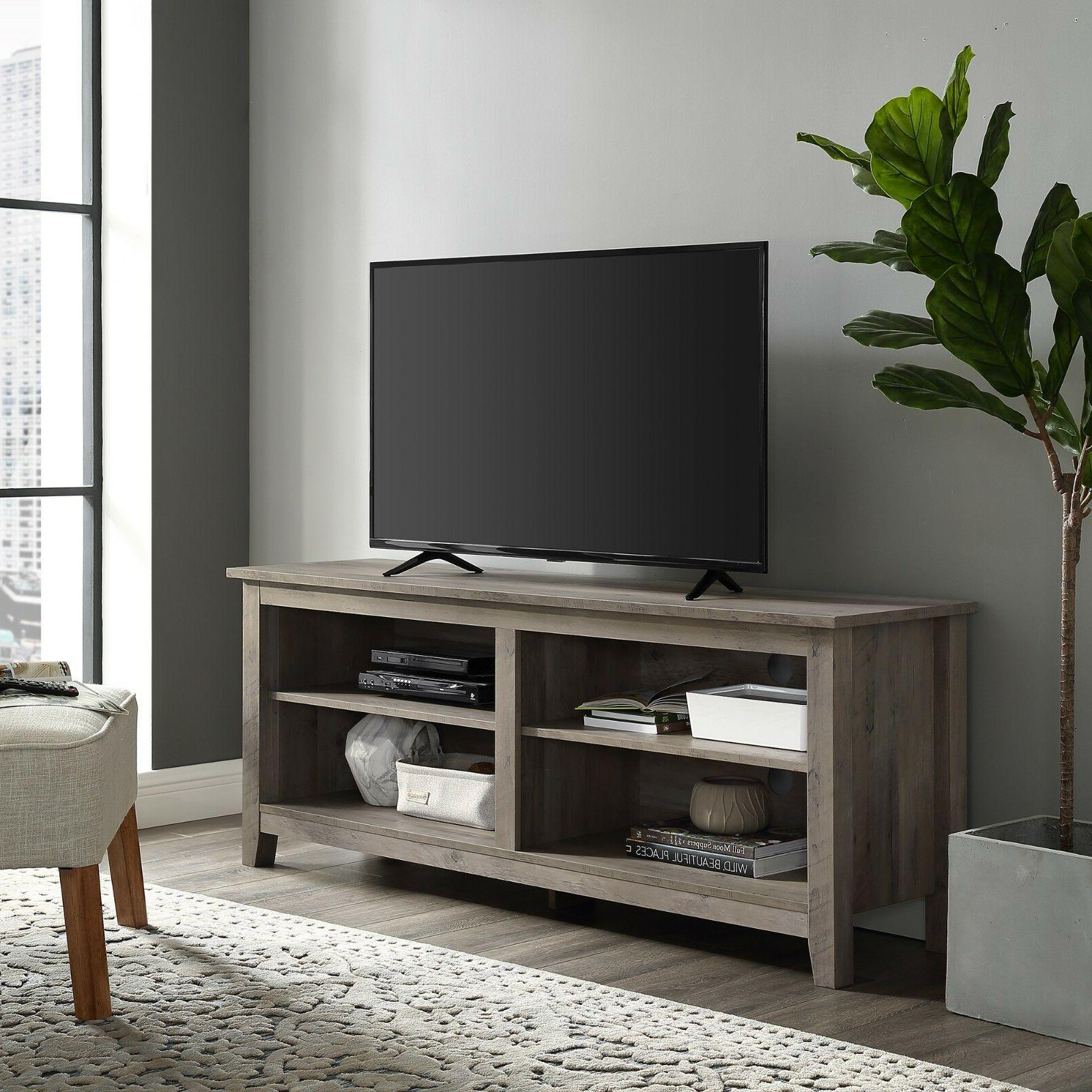 """TV Stand 60"""" Table Wood Rustic Storage Console Living Room M"""