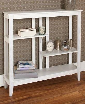 Brushed Metallic Console Table with Display Shelves 3 Colors