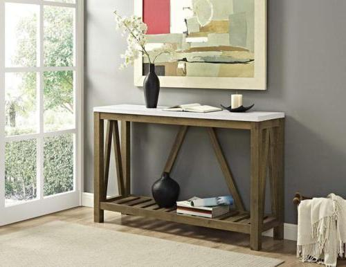 WE Furniture AZF52AFTMNW a-Frame Rustic Entry Console Table,