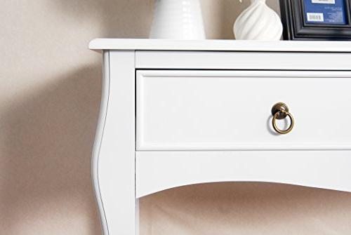 White Finish Curved Accent Console Sofa Table with Drawer