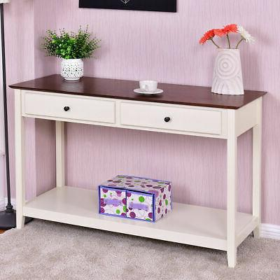 Wood Console Sofa Table Accent Stand with Drawer and Shelf E