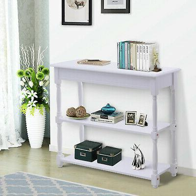Wood Console Table White Modern Accent Shelf Stand Sofa Entr