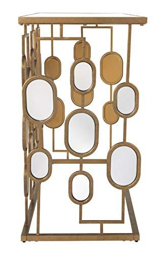 Ashley Furniture - Majaci Console - - Gold Metal - Glasstop and Accents