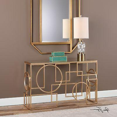 Abstract Shapes Open Gold Console Table Mid