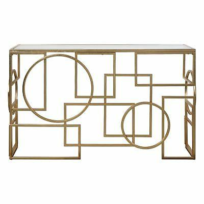 abstract geometric shapes open gold console table