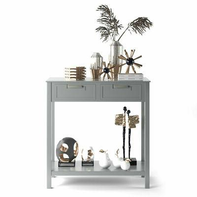 Accent Console Table Entryway Sofa Foyer Shelf Drawers