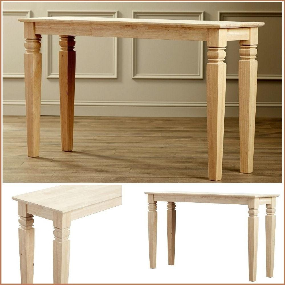 Accent Console Table Rustic Narrow Unfinished Wood Legs Couc