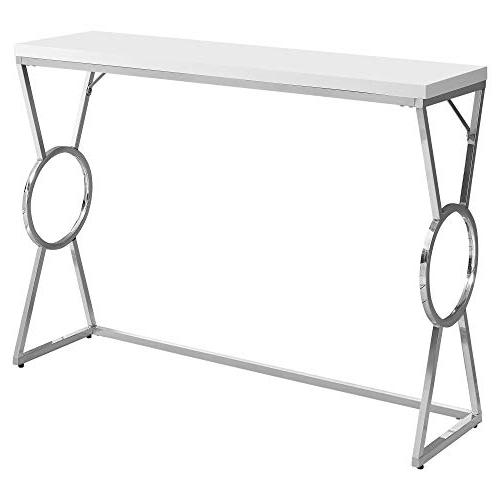 Monarch Specialties 42 in. Accent Table and Chrome