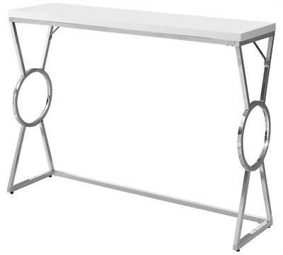 accent table white chrome finish