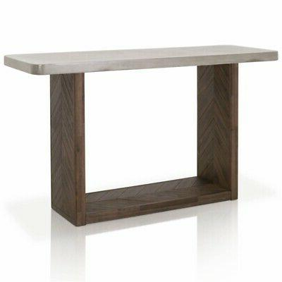 Maklaine Concrete Top Console Table in Brushed Cinder and Sl