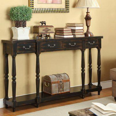 apperson black 4 drawer console table