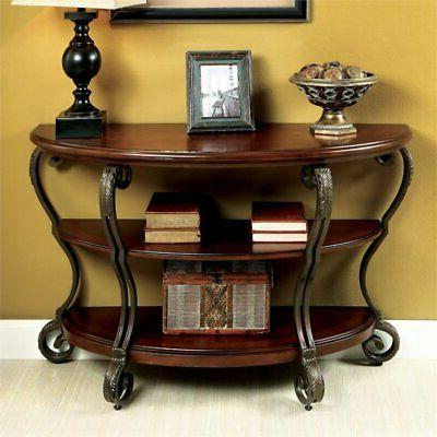 azea scrolled leg console table in brown