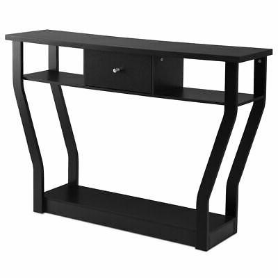 Black Console Table Modern Sofa Entryway Hall Furniture W/Drawer
