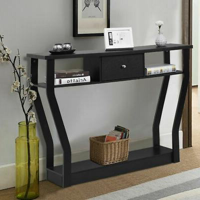 Black Table Modern Entryway Hall Furniture W/Drawer
