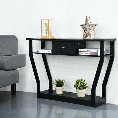 Black Console Table Modern Entryway Hall W/Drawer