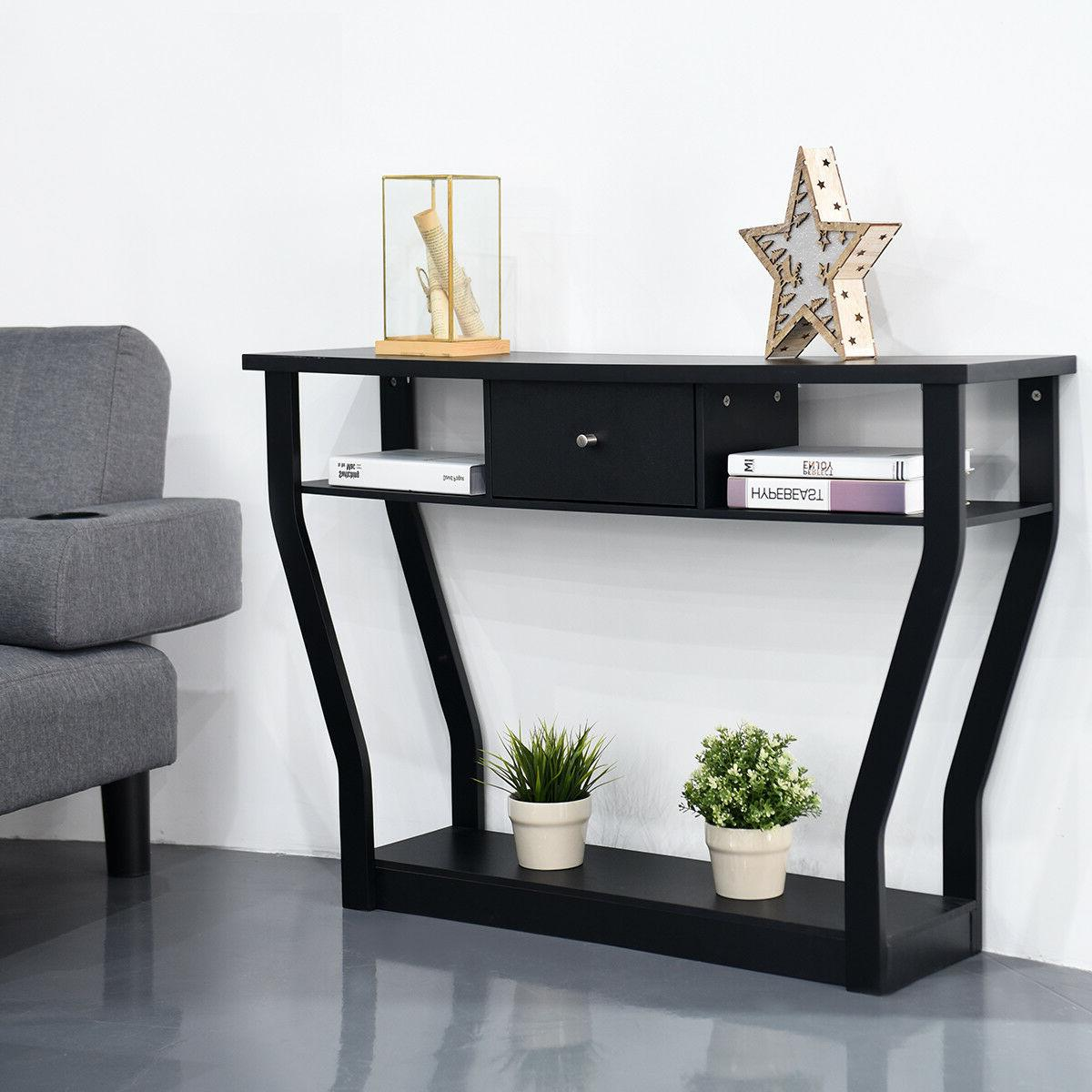 Black Accent Console Table Modern Sofa Hall Furniture W/Drawer