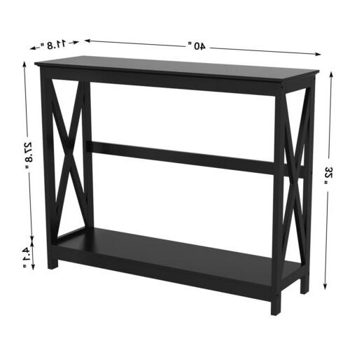 Black Finish X-Design Occasional Bookshelf Entryway