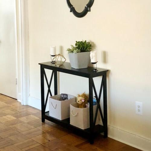 Black 2-Tier Bookshelf Entryway
