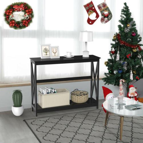Black Finish 2-Tier X-Design Occasional Table Bookshelf Entryway