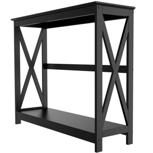 Black 2-Tier Occasional Console Sofa Bookshelf Entryway