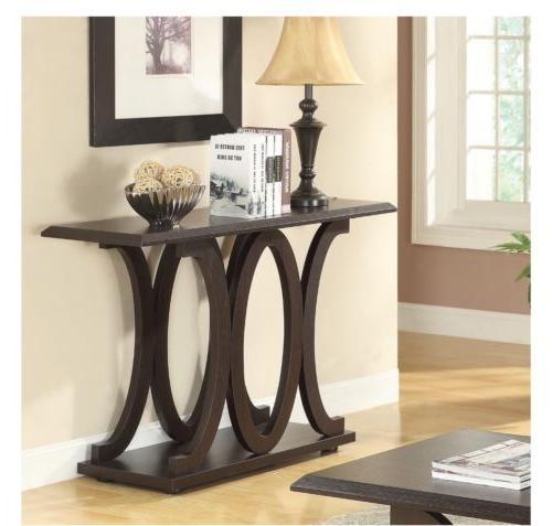 brown rectangular wood transitional console table