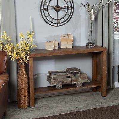 brown rustic console table entryway living room